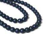 Czech glass beads, 8mm round, dark blue navy, Full Strand (1141G)