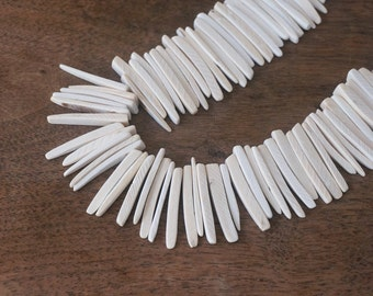 Wood spike beads, White top drilled coconut palm sticks, full strand (1149R)