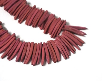 coconut palm wood spike beads, dark pink top drilled sticks, full strand (655R)