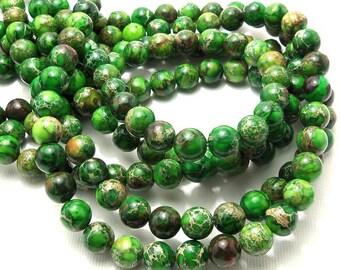 Impression Stone, 8mm, Green, Light/Dark, Round, Smooth, Gemstone Beads, Small, Full Strand, 50pcs - ID 1224