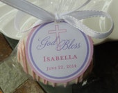 "God Bless Custom Baptism Favor Tags - For Cake Pops - Lollipops - Cookies - Catholic Party Favors - (60) 1.5"" Personalized Printed Tags"