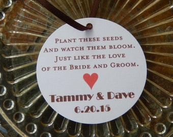 "Wedding Seed Favor Custom 2"" Tags - Love of the Bride and Groom - Wedding Tags - Love Blooms Tags - Flower Seeds Thank You Gifts (100 tags)"