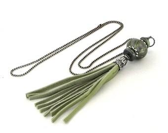 Tassel Necklace / Tassel Jewelry / Layering Necklace / Boho Necklace / Boho Jewelry / Long Necklace / Mint Necklace