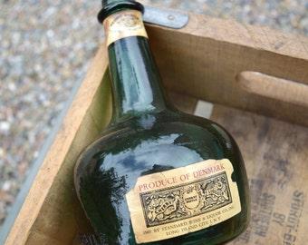 Vintage music box cherry liqueur bottle Georg Bestle Denmark Jingle Bells Christmas green glass empty bottle music box