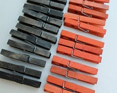 Colored Clothespins - orange and black wooden clothespins - craft supply - Halloween party supply
