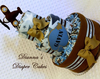 Airplanes Baby Diaper Cakes Shower Gift or Centerpiece