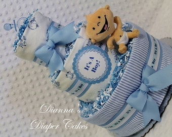 Diaper Cake Baby Boys Shower Gift or Centerpiece