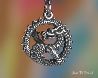 Sterling Silver Dragon in Circle Charm Fantasy Mythology 3D Solid .925