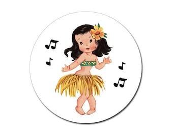 Aloha Vintage Hula Girl Stickers by Loralee Lewis