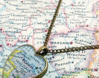 CLEARANCE Sale - Venezuela 1972 Heart Map Necklace. Heart Map Pendant. Map Jewelry. Venezuela Vintage Map Necklace. Travel Gifts For Her.