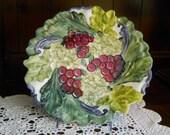 Porcelain Kitchen Platter Hand painted Wine Grape and Snowball Bush design