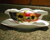Hand Painted Porcelain Gravy Boat Americana Patriotic Sunflower Design