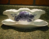 Hand Painted Porcelain Gravy Boat Midnight Blue Rose Design