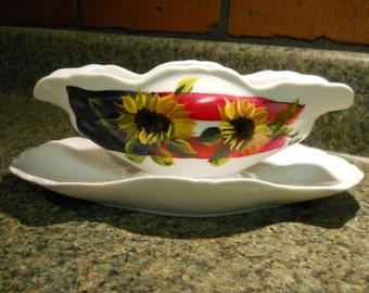Hand Painted Porcelain Gravy Boat Americana Patriotic Sunflower Design