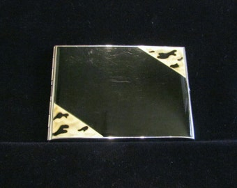 Vintage Cigarette Case Nickel Silver Enamel Business Card Case Art Deco Credit Card Holder Golden Wheel Cigarette Case