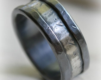custom mens wedding band - oxidized fine silver and sterling silver ring - handmade hammered artisan designed wedding or engagement band