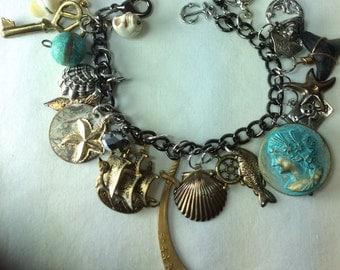 Charm Bracelet. Pirate Bracelet. Nautical. Ship. Sale