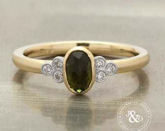 Green Tourmaline Unique Engagement Ring in 14k Yellow Gold