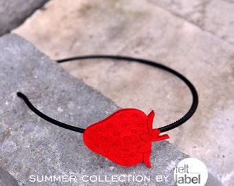 red headband with felt strawberry
