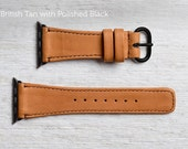 The Classic Apple Watch Band by Pad and Quill - British Tan with Polished Black for 42mm