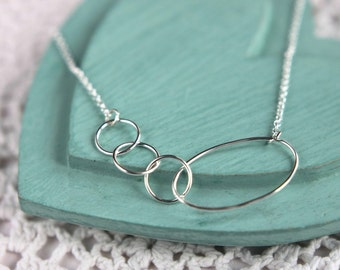 SALE, Mother Daughter Necklace, Mom Necklace, Gift for Mom, Eternity Necklace, Silver Circle Necklace, 4 Ring Necklace, Family Necklace