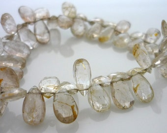 Faceted rutilated quartz briolette beads 8-11mm 1/2 strand