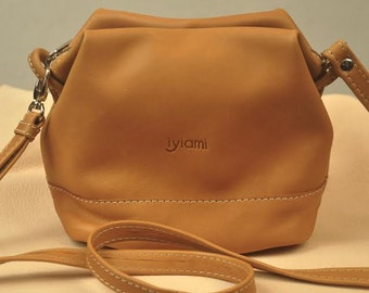 Leather purse,small  women's bag  in camel color ,named CLIO ,made to order