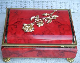 Vintage Hinged Confectionery Tin. Blue Bird. English. Red, Golden and Black.