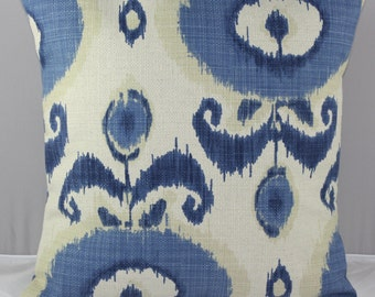 Ikat Pillow Cover in Blue and and Off White Tribal Design