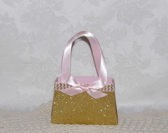 Purse Favor, Pink and Gold Collection Paper Purse Gift Bag, Favor Box, Keepsake