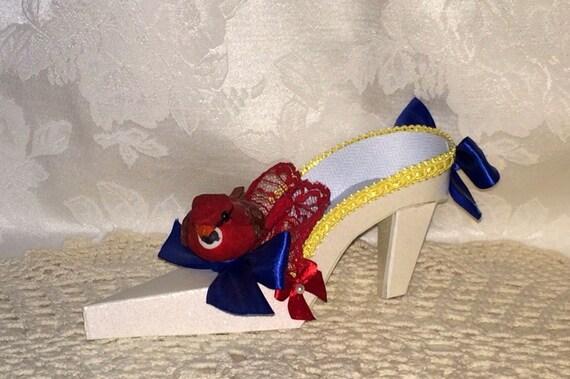 Red Bird High Heel Paper Shoe