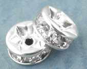 20 pcs Silver Plated Clear Rhinestone Rondelle Spacer Beads - 6mm