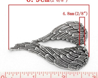 "10pcs. EXTRA LARGE - Antique Silver Angel Wing Carved Wing Charms Pendants - 69mm X 47mm (2.71"" x 1.85"")"