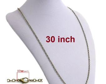 "1 pc. Antique Bronze Cable Chain Link Necklaces 30"" - (3 x 4mm Links) - Lobster Clasps - Claw Clasps"