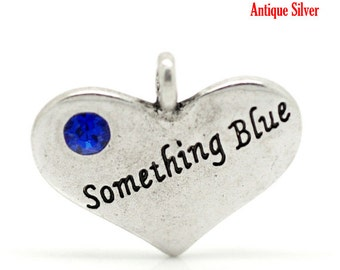 "1 or 2 pcs. Antique Silver ""Something Blue"" charm with rhinestone - 22 mm X 18 mm"