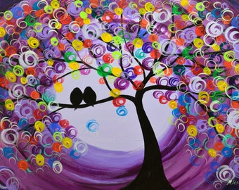 tree painting love birds purple large original colorful abstract acrylic on canvas 24x36 in. by artist Mariana Stauffer Malorcka art