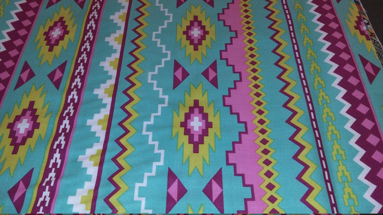 Green Pink Tribal print fabric/ Native print by ...