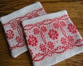 Set of Two Fabric Coasters, Handwoven Drink Coasters, Beige and Red Fabric Coasters, Woven Mug Rugs, Hand Woven Coasters, Coaster Set