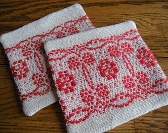 Coaster Set, Handwoven Drink Coasters, Set of Two Fabric Coasters, Beige and Red Fabric Coasters, Woven Mug Rugs, Hand Woven Coasters