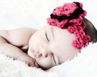 SUMMER SALE 0 to 3m Newborn Headband Baby Girl Crochet Flower Headband Shower Gift Hot Pink Baby Headband Flower Newborn Baby Shower Gift