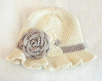 SUMMER SALE 0 to 3m Newborn Baby Hat Flower Sun Hat - Cream and Stone Rose Flower Newborn Hat Baby Cloche Hat Girl Flower Hat Christmas  Cij