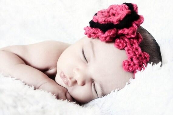0 to 3m Newborn Headband Baby Girl Crochet Flower Headband Shower Gift Hot Pink Baby Headband Flower Newborn Baby Shower Gift Costume