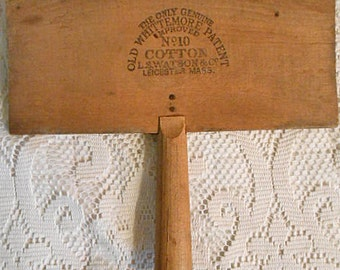 Whittemore COTTON CARDER Antique 1800s Rustic Wood Tool for Sheep Sheering Yarn Spinning, Improved No 10 Watson Leicester MA, Flax Alpacas
