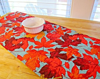 Fall Table Runner, Autumn Table Runner, Quilted Table Runner, Maple Leaf Decor, Modern Table Runner, Fall Table Topper, Maple Leaves