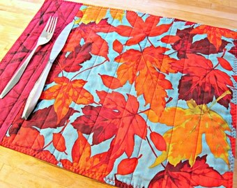Quilted Placemats, Autumn Placemats, Fall Placemats, Autumn Leaves, Autumn Decor, Thanksgiving Placemats, Maple Leaves, Fall Decor