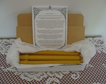 "Natural Handmade Beeswax Candles - 10"" colonial (flute based) tapers, box of 6"