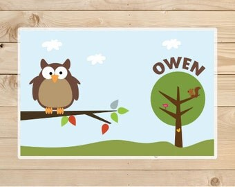 Personalized Kids Placemat Cute Owl on Tree, Children Owl Placemat, Laminated Placemat.