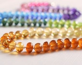 Hand Knotted Gemstone Necklace, Rainbow Jewelry, Semiprecious, Bright Colorful Fun, Sterling Silver, Silk Cord, Free Shipping