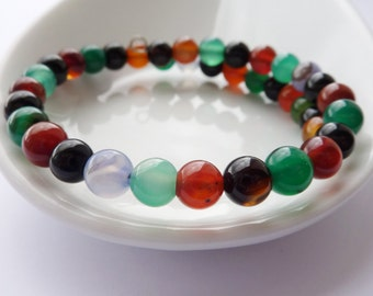Beaded Bracelet - Agate Bracelet - Gift for Her - Multicoloured Gemstone Bangle - Stacking Bracelet - UK Jewellery