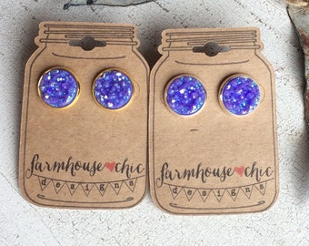 GRAPE SPARKLE Druzy Earrings